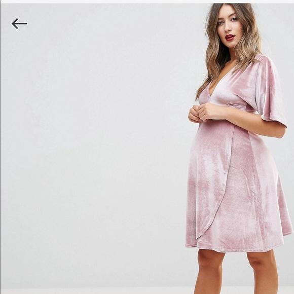 21c1a47d3d ASOS Maternity Velvet Plunge Mini Dress